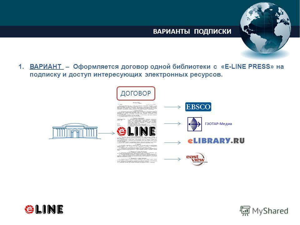 ProPowerPoint.Ru ВАРИАНТЫ ПОДПИСКИ 1.ВАРИАНТ – Оформляется договор одной библиотеки с «E-LINE PRESS» на подписку и доступ интересующих электронных ресурсов. ГЭОТАР-Медиа ДОГОВОР