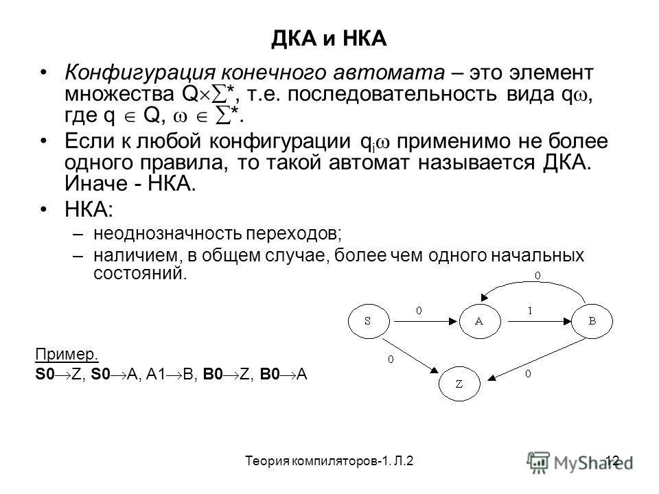 Теория компиляторов-1. Л.212 ДКА и НКА Конфигурация конечного автомата – это элемент множества Q *, т.е. последовательность вида q, где q Q, *. Если к любой конфигурации q i применимо не более одного правила, то такой автомат называется ДКА. Иначе -