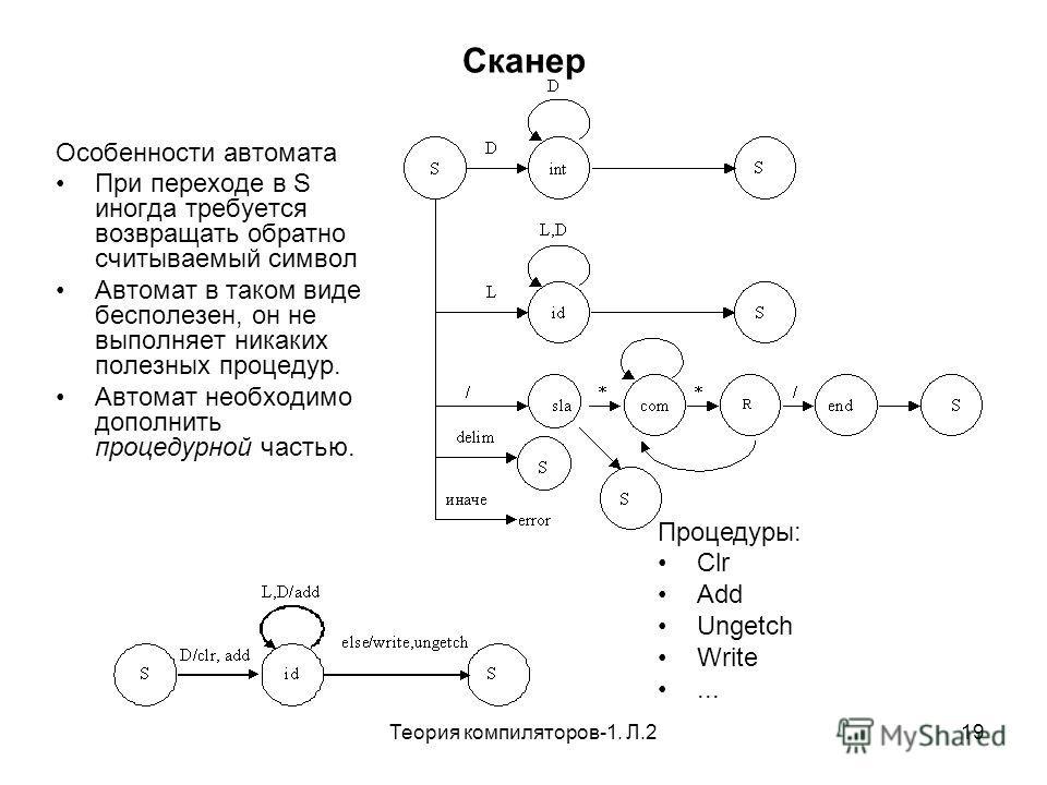 Теория компиляторов-1. Л.219 Сканер Особенности автомата При переходе в S иногда требуется возвращать обратно считываемый символ Автомат в таком виде бесполезен, он не выполняет никаких полезных процедур. Автомат необходимо дополнить процедурной част