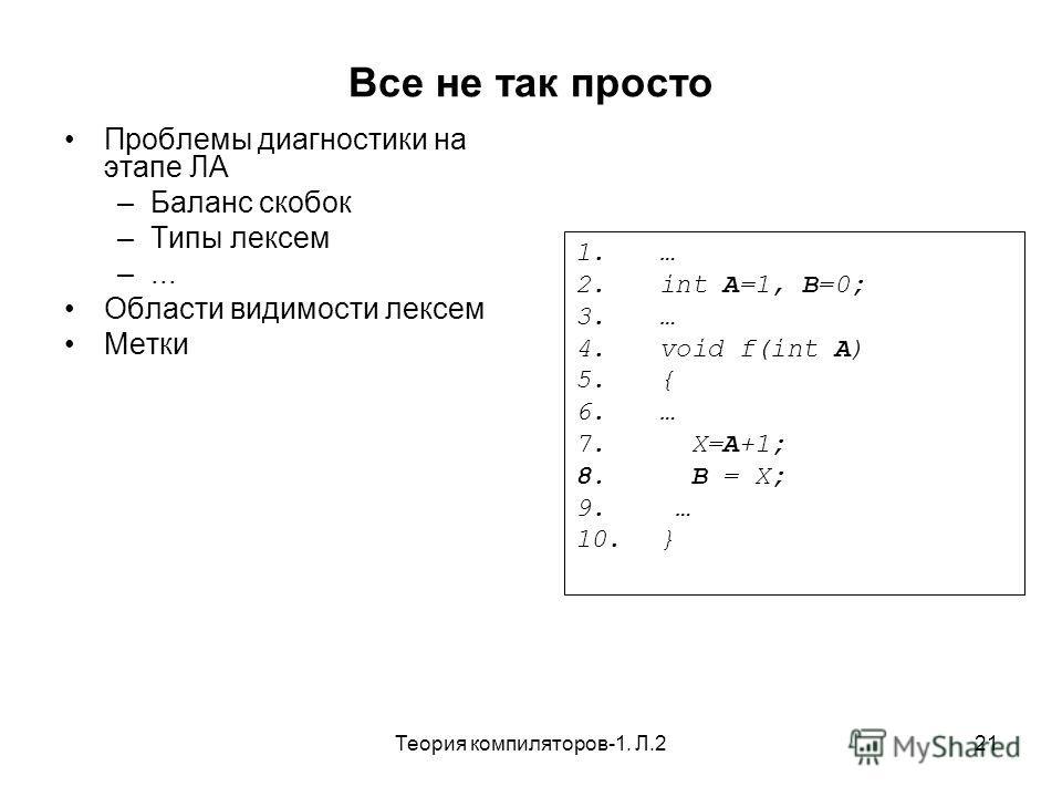 Теория компиляторов-1. Л.221 Все не так просто Проблемы диагностики на этапе ЛА –Баланс скобок –Типы лексем –... Области видимости лексем Метки 1. … 2. int A=1, B=0; 3. … 4. void f(int A) 5. { 6. … 7. X=A+1; 8. B = X; 9. … 10. }