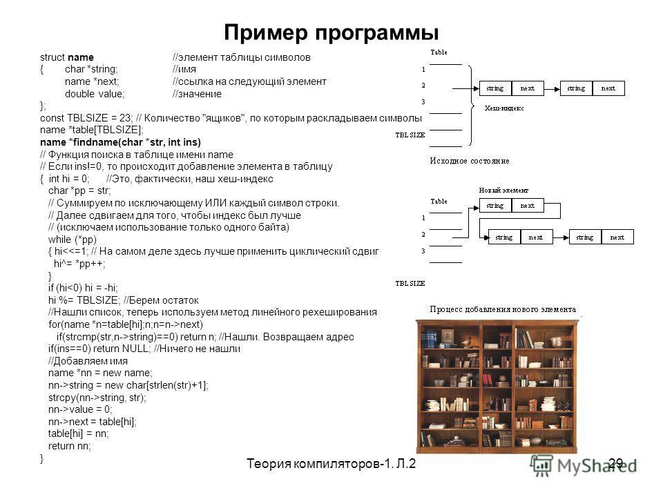 Теория компиляторов-1. Л.229 Пример программы struct name//элемент таблицы символов {char *string;//имя name *next; //ссылка на следующий элемент double value; //значение }; const TBLSIZE = 23; // Количество
