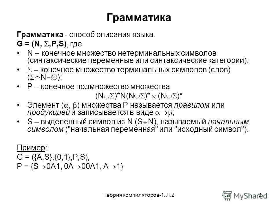 Теория компиляторов-1. Л.23 Грамматика Грамматика - способ описания языка. G = (N,,P,S), где N – конечное множество нетерминальных символов (синтаксические переменные или синтаксические категории); – конечное множество терминальных символов (слов) (