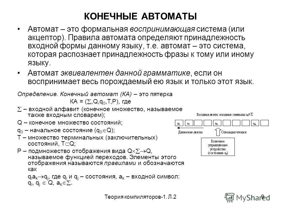 Теория компиляторов-1. Л.29 КОНЕЧНЫЕ АВТОМАТЫ Автомат – это формальная воспринимающая система (или акцептор). Правила автомата определяют принадлежность входной формы данному языку, т.е. автомат – это система, которая распознает принадлежность фразы