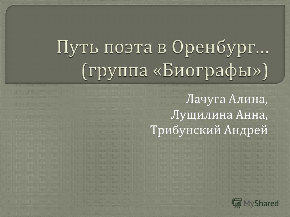 Лачуга Алина, Лущилина Анна, Трибунский Андрей