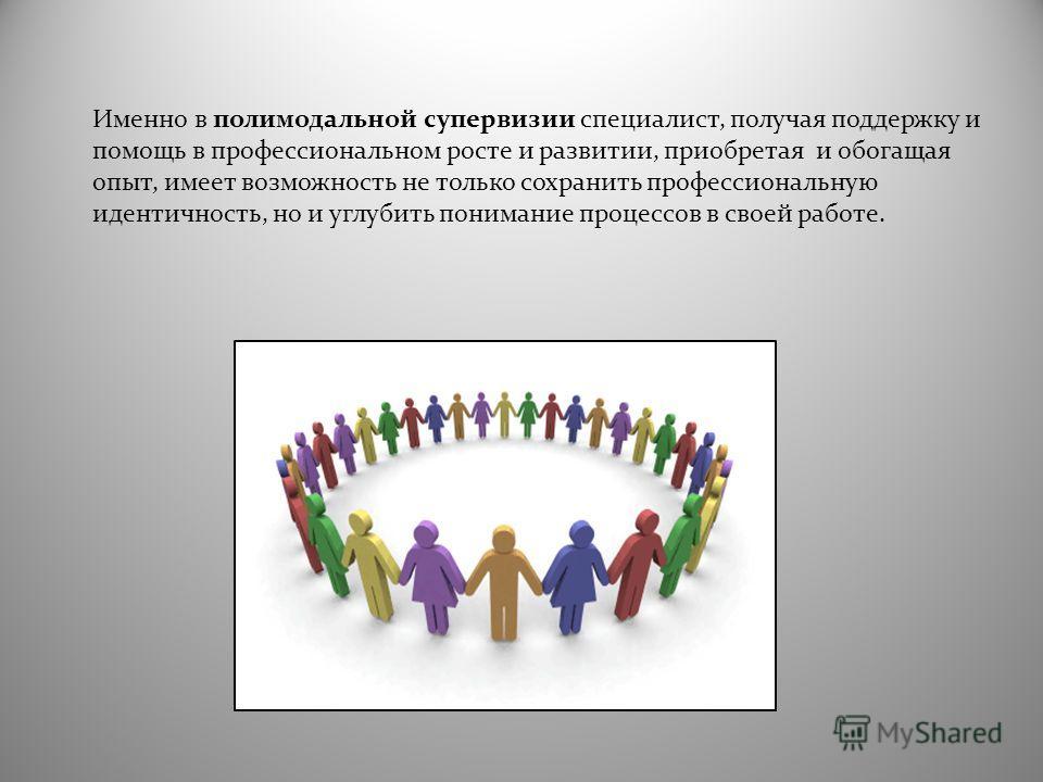 Именно в полимодальной супервизии специалист, получая поддержку и помощь в профессиональном росте и развитии, приобретая и обогащая опыт, имеет возможность не только сохранить профессиональную идентичность, но и углубить понимание процессов в своей р