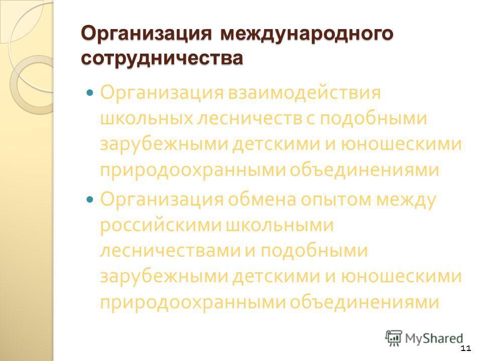 Организация международного сотрудничества Организация взаимодействия школьных лесничеств с подобными зарубежными детскими и юношескими природоохранными объединениями Организация обмена опытом между российскими школьными лесничествами и подобными зару