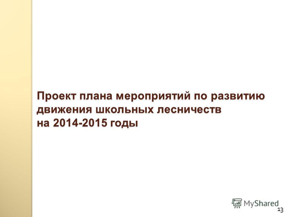 Проект плана мероприятий по развитию движения школьных лесничеств на 2014-2015 годы 13