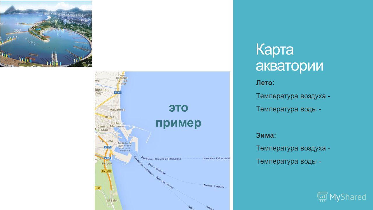 Карта акватории Лето: Температура воздуха - Температура воды - Зима: Температура воздуха - Температура воды - это пример