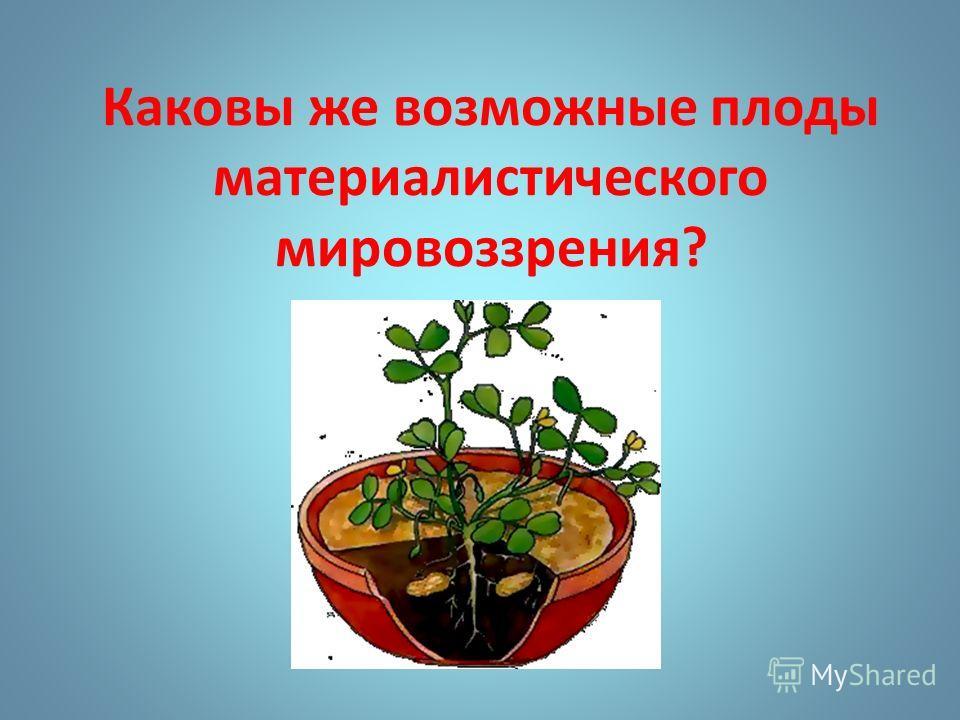 Каковы же возможные плоды материалистического мировоззрения?