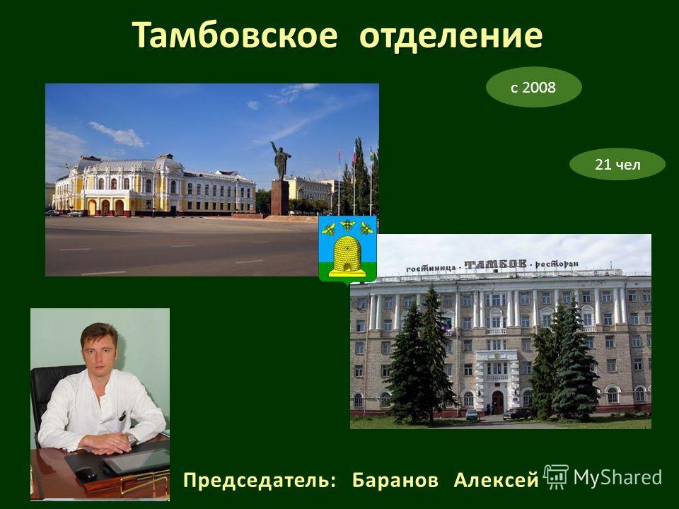 Председатель: Баранов Алексей с 2008 21 чел Тамбовское отделение