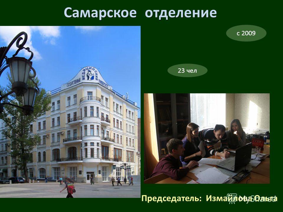Председатель: Измайлова Ольга с 2009 Самарское отделение 23 чел