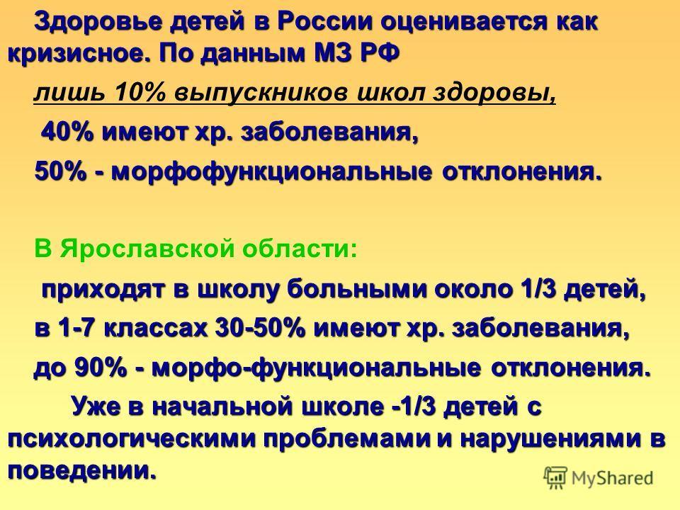 Здоровье детей в России оценивается как кризисное. По данным МЗ РФ лишь 10% выпускников школ здоровы, 40% имеют хр. заболевания, 40% имеют хр. заболевания, 50% - морфофункциональные отклонения. В Ярославской области: приходят в школу больными около 1