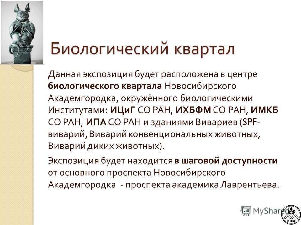 Биологический квартал Данная экспозиция будет расположена в центре биологического квартала Новосибирского Академгородка, окружённого биологическими Институтами : ИЦиГ СО РАН, ИХБФМ СО РАН, ИМКБ СО РАН, ИПА СО РАН и зданиями Вивариев (SPF- виварий, Ви