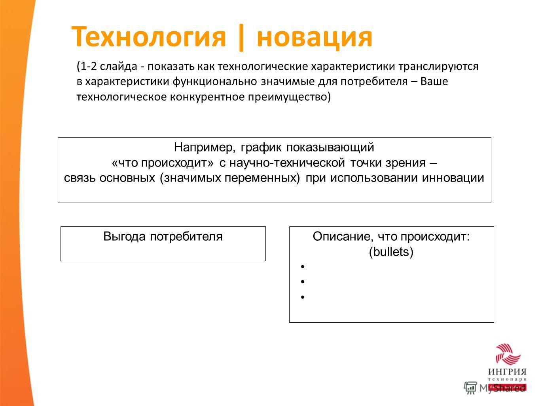 Технология   новация (1-2 слайда - показать как технологические характеристики транслируются в характеристики функционально значимые для потребителя – Ваше технологическое конкурентное преимущество) Например, график показывающий «что происходит» с на