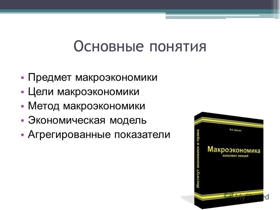 Основные понятия Предмет макроэкономики Цели макроэкономики Метод макроэкономики Экономическая модель Агрегированные показатели