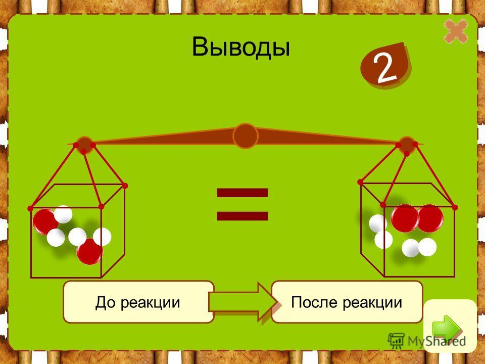 Выводы 2 2 До реакцииПосле реакции =