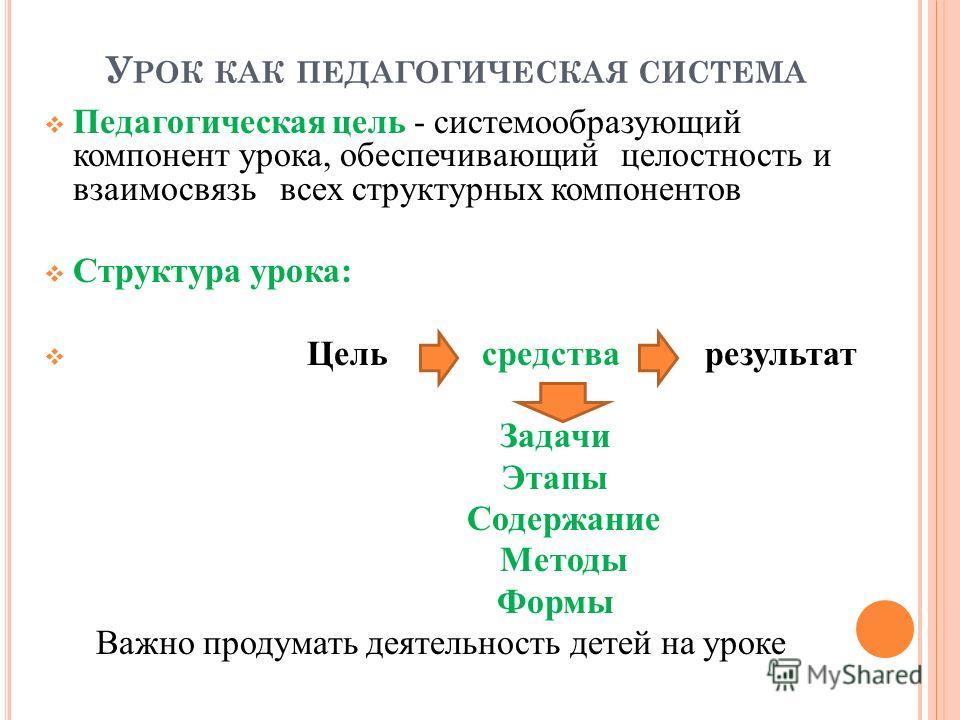 У РОК КАК ПЕДАГОГИЧЕСКАЯ СИСТЕМА Педагогическая цель - системообразующий компонент урока, обеспечивающий целостность и взаимосвязь всех структурных компонентов Структура урока: Цель средства результат Задачи Этапы Содержание Методы Формы Важно продум