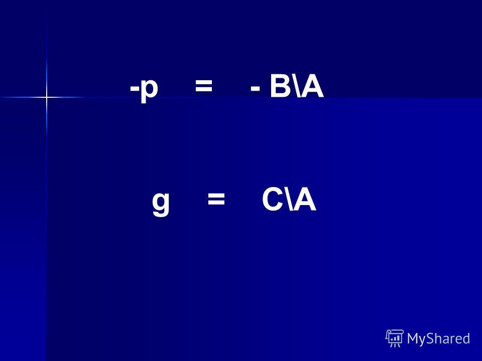 -p = - B\A g = C\A