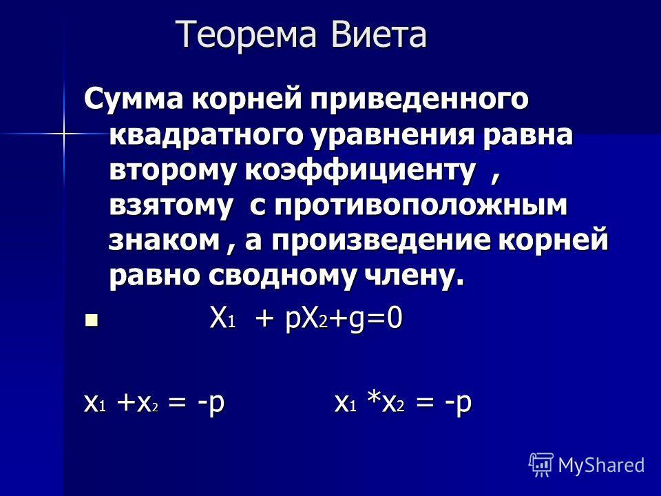 Теорема Виета Теорема Виета Сумма корней приведенного квадратного уравнения равна второму коэффициенту, взятому с противоположным знаком, а произведение корней равно сводному члену. Х 1 + pХ 2 +g=0 Х 1 + pХ 2 +g=0 х 1 + х 2 = -р х 1 *х 2 = -р