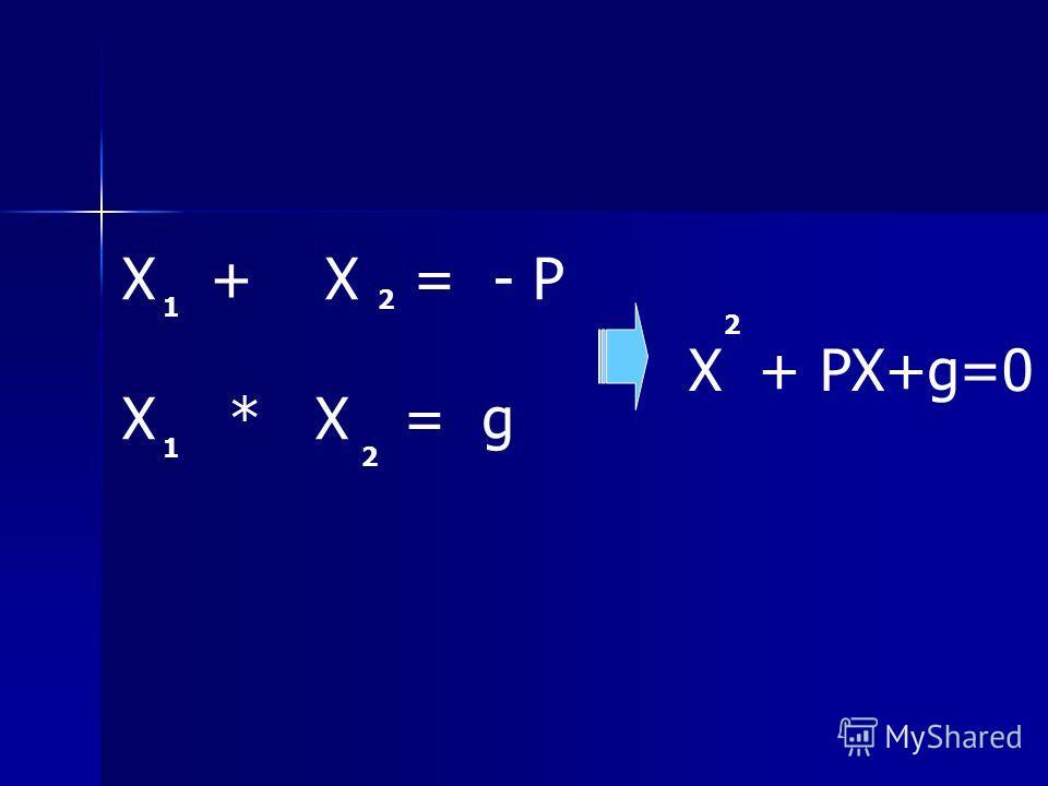 Х + Х = - Р Х * Х = g 1 2 1 2 Х + РХ+g=0 2