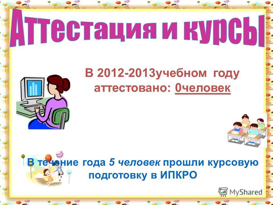 В течение года 5 человек прошли курсовую подготовку в ИПКРО В 2012-2013учебном году аттестовано: 0человек