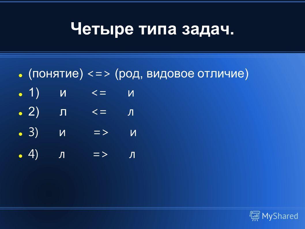 Четыре типа задач. (понятие) (род, видовое отличие) 1) и  л