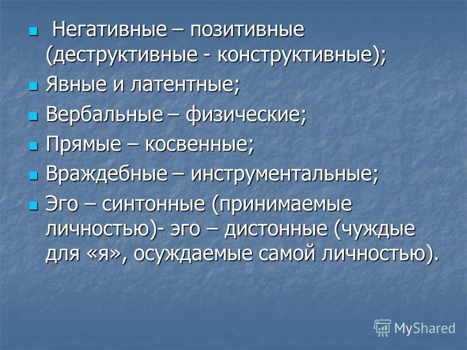 Негативные – позитивные (деструктивные - конструктивные); Негативные – позитивные (деструктивные - конструктивные); Явные и латентные; Явные и латентные; Вербальные – физические; Вербальные – физические; Прямые – косвенные; Прямые – косвенные; Вражде