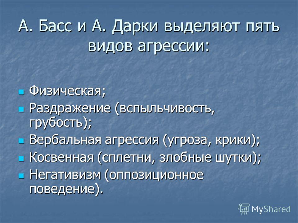 А. Басс и А. Дарки выделяют пять видов агрессии: Физическая; Физическая; Раздражение (вспыльчивость, грубость); Раздражение (вспыльчивость, грубость); Вербальная агрессия (угроза, крики); Вербальная агрессия (угроза, крики); Косвенная (сплетни, злобн