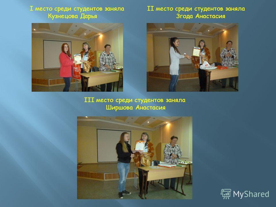 I место среди студентов заняла Кузнецова Дарья II место среди студентов заняла Згода Анастасия III место среди студентов заняла Ширшова Анастасия