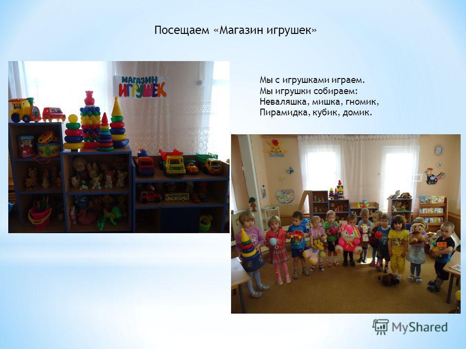 Посещаем «Магазин игрушек» Мы с игрушками играем. Мы игрушки собираем: Неваляшка, мишка, гномик, Пирамидка, кубик, домик.
