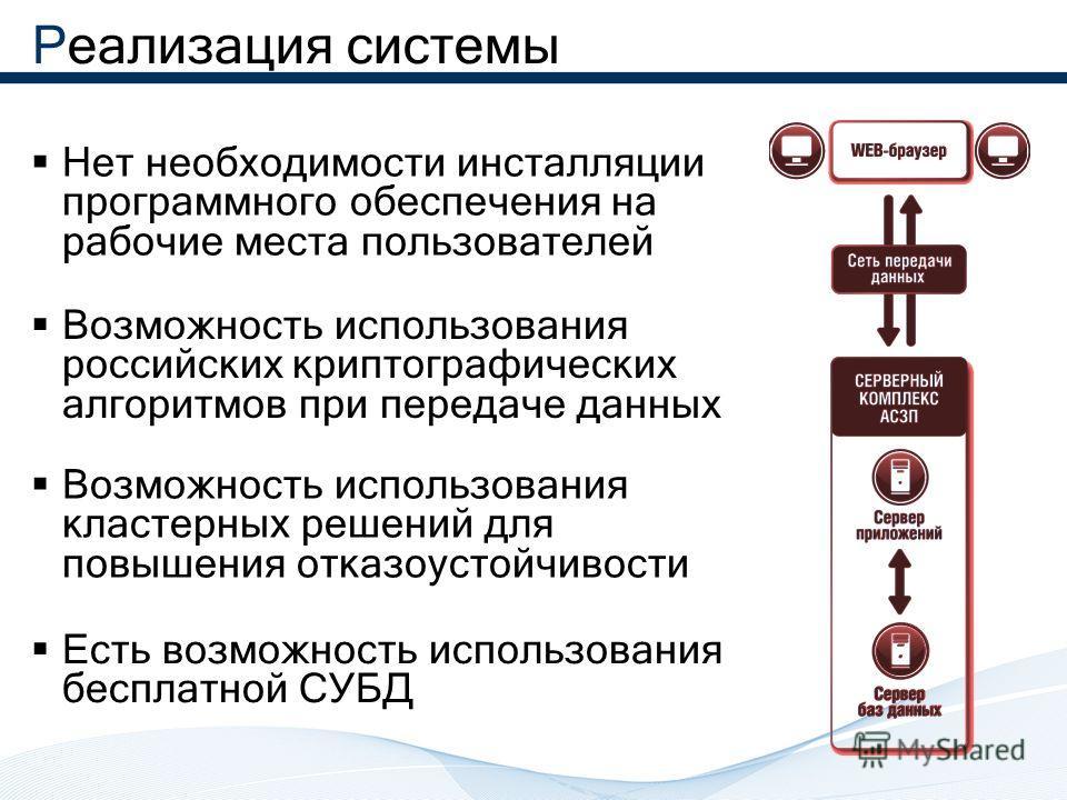 Реализация системы Нет необходимости инсталляции программного обеспечения на рабочие места пользователей Возможность использования российских криптографических алгоритмов при передаче данных Возможность использования кластерных решений для повышения