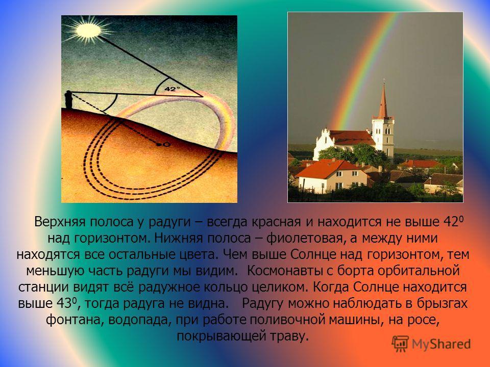 Радуга Радуга – это спектр солнечного света, образованный разложением белого света в каплях дождя, как в призмах. Из дождевых капель под разными углами преломления выходят широкие разноцветные пучки света. Наблюдатель, находясь вне зоны дождя, видит