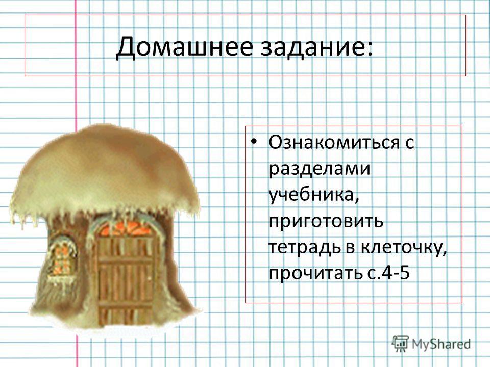 Домашнее задание: Ознакомиться с разделами учебника, приготовить тетрадь в клеточку, прочитать с.4-5