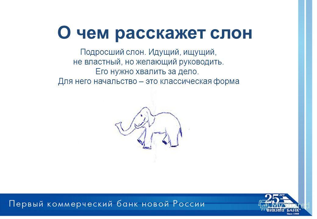 О чем расскажет слон Подросший слон. Идущий, ищущий, не властный, но желающий руководить. Его нужно хвалить за дело. Для него начальство – это классическая форма