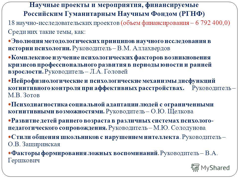 Научные проекты и мероприятия, финансируемые Российским Гуманитарным Научным Фондом (РГНФ) 18 научно-исследовательских проектов (объем финансирования – 6 792 400,0) Среди них такие темы, как: Эволюция методологических принципов научного исследования