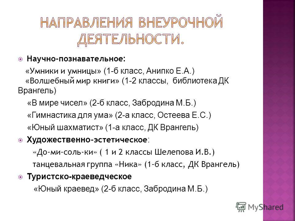 Научно-познавательное : « Умники и умницы » (1-б класс, Анипко Е.А.) « Волшебный мир книги » (1-2 классы, библиотека ДК Врангель) «В мире чисел» (2-б класс, Забродина М.Б.) «Гимнастика для ума» (2-а класс, Остеева Е.С.) «Юный шахматист» (1-а класс, Д