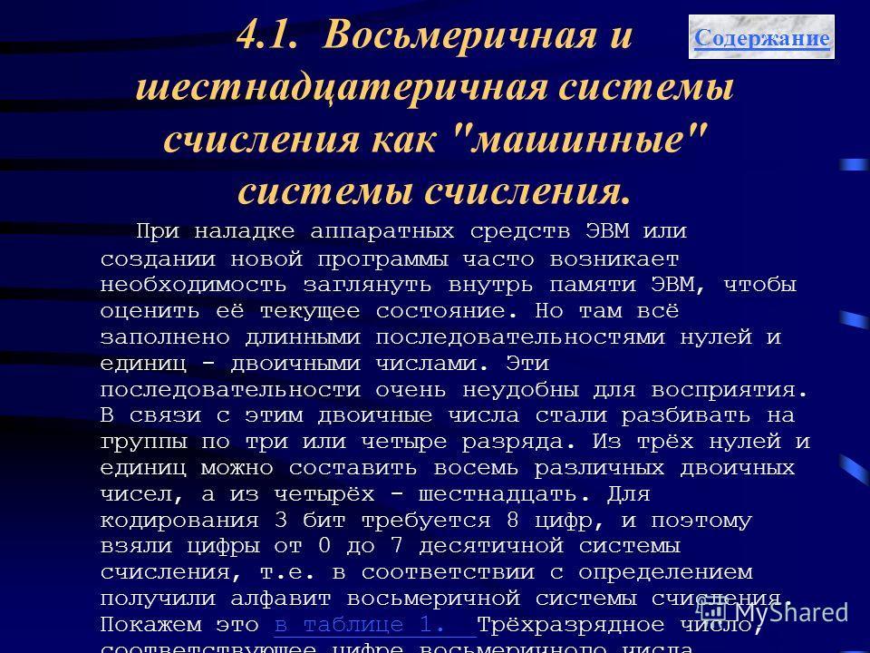 4.1. Восьмеричная и шестнадцатеричная системы счисления как