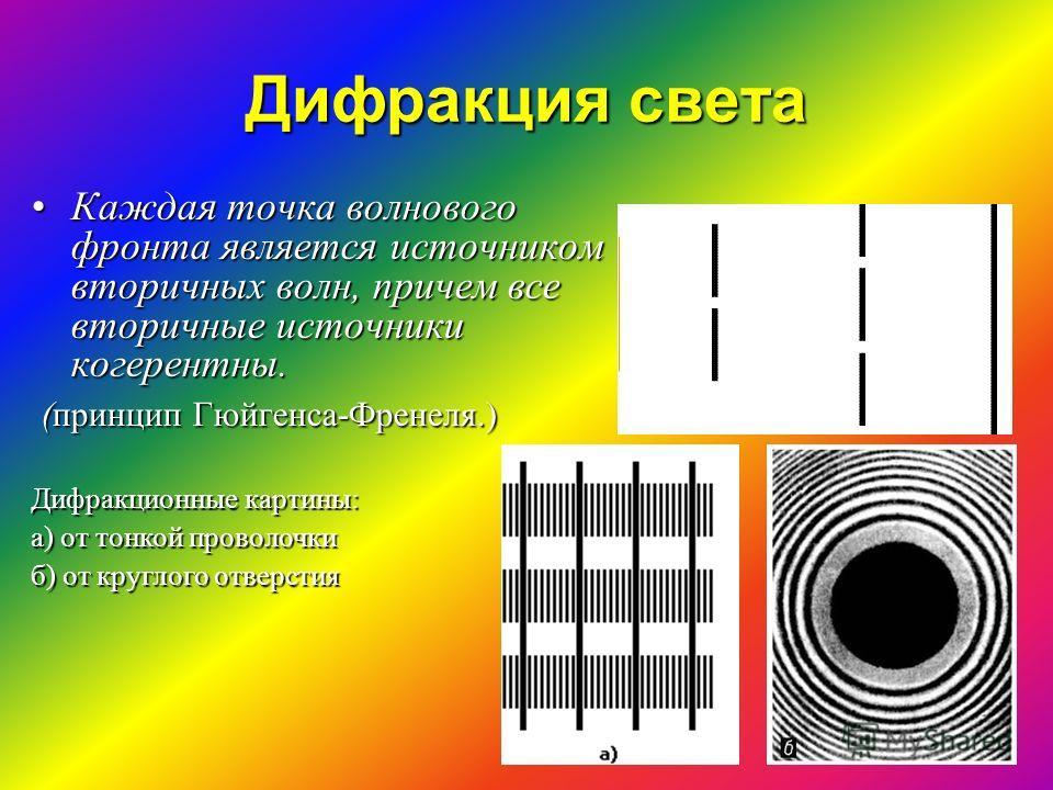 Дифракция света Каждая точка волнового фронта является источником вторичных волн, причем все вторичные источники когерентны.Каждая точка волнового фронта является источником вторичных волн, причем все вторичные источники когерентны. (принцип Гюйгенса