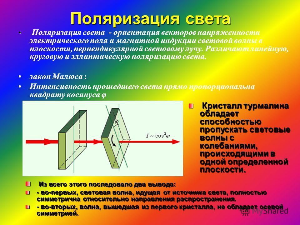 Поляризация света Поляризация света - ориентация векторов напряженности электрического поля и магнитной индукции световой волны в плоскости, перпендикулярной световому лучу. Различают линейную, круговую и эллиптическую поляризацию света. закон Малюса
