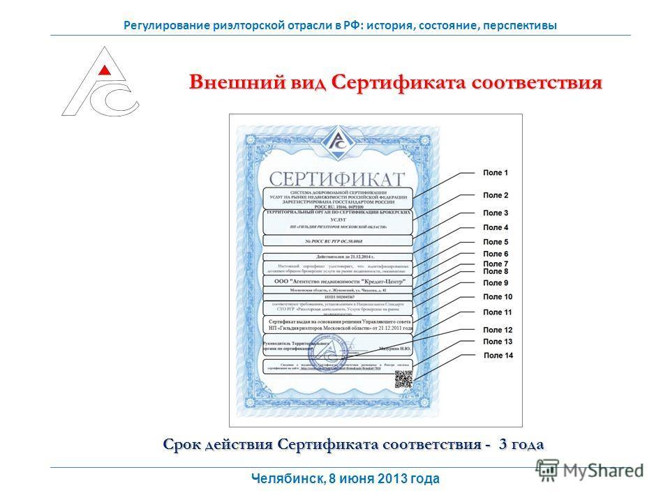 Регулирование риэлторской отрасли в РФ: история, состояние, перспективы Внешний вид Сертификата соответствия Срок действия Сертификата соответствия - 3 года Челябинск, 8 июня 2013 года