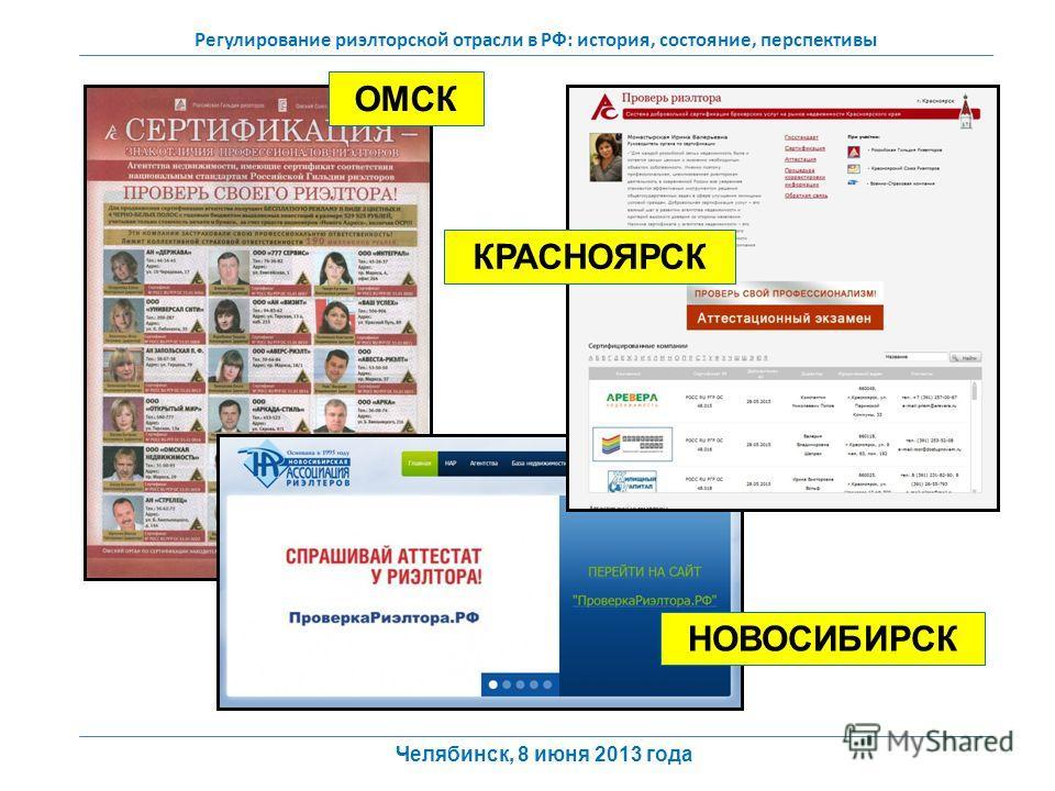 Регулирование риэлторской отрасли в РФ: история, состояние, перспективы Челябинск, 8 июня 2013 года ОМСК КРАСНОЯРСК НОВОСИБИРСК