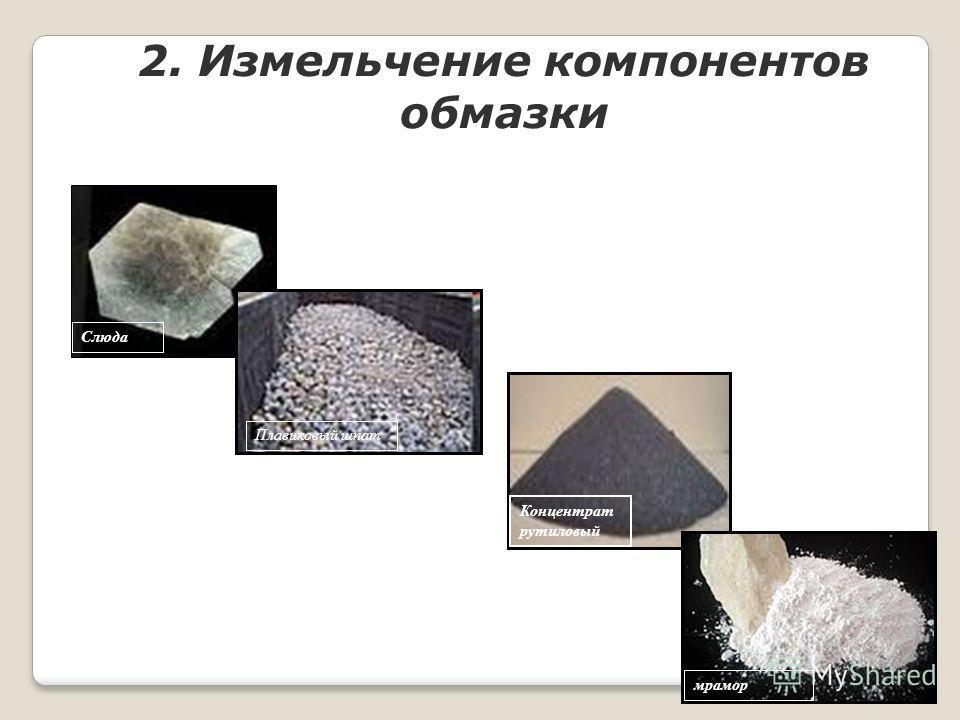 2. Измельчение компонентов обмазки мрамор Концентрат рутиловый Слюда Плавиковый шпат