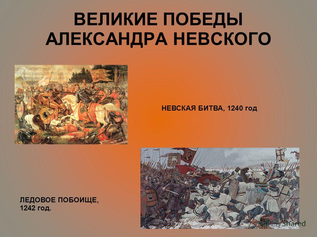ВЕЛИКИЕ ПОБЕДЫ АЛЕКСАНДРА НЕВСКОГО НЕВСКАЯ БИТВА, 1240 год ЛЕДОВОЕ ПОБОИЩЕ, 1242 год.