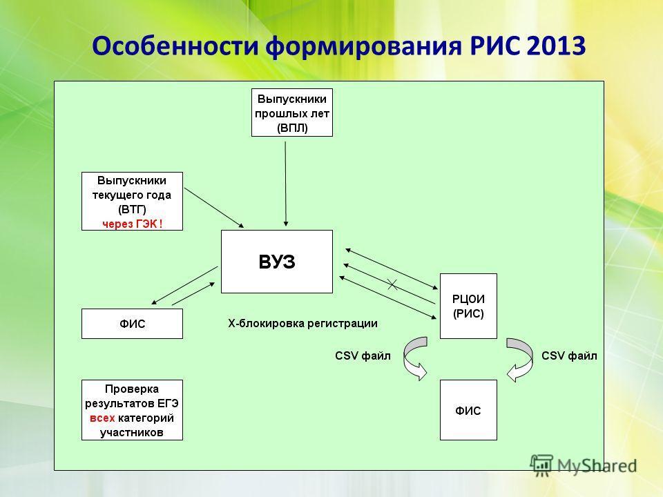 Особенности формирования РИС 2013