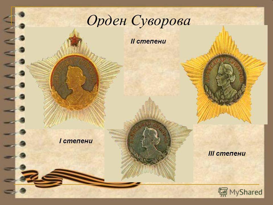 Орден Суворова I степени II степени III степени