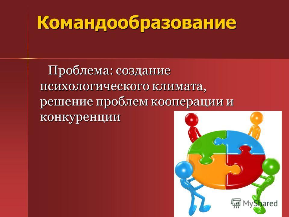 Командообразование Проблема: создание психологического климата, решение проблем кооперации и конкуренции Проблема: создание психологического климата, решение проблем кооперации и конкуренции