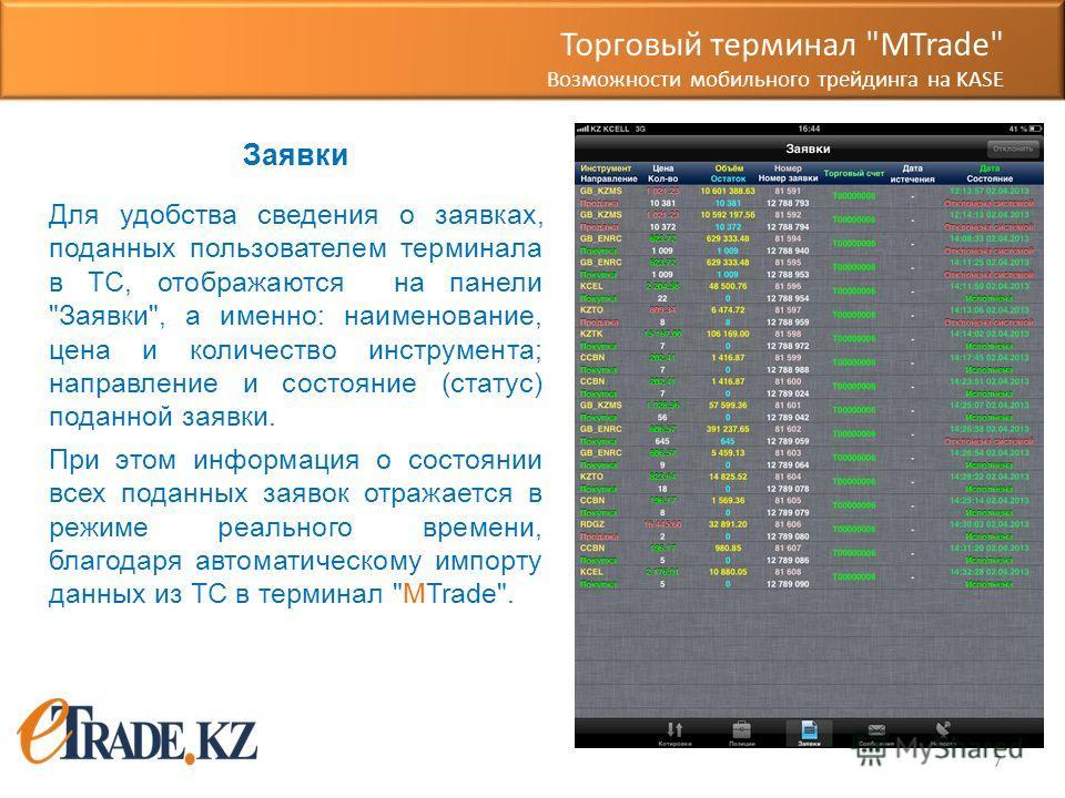 7 Заявки Для удобства сведения о заявках, поданных пользователем терминала в ТС, отображаются на панели