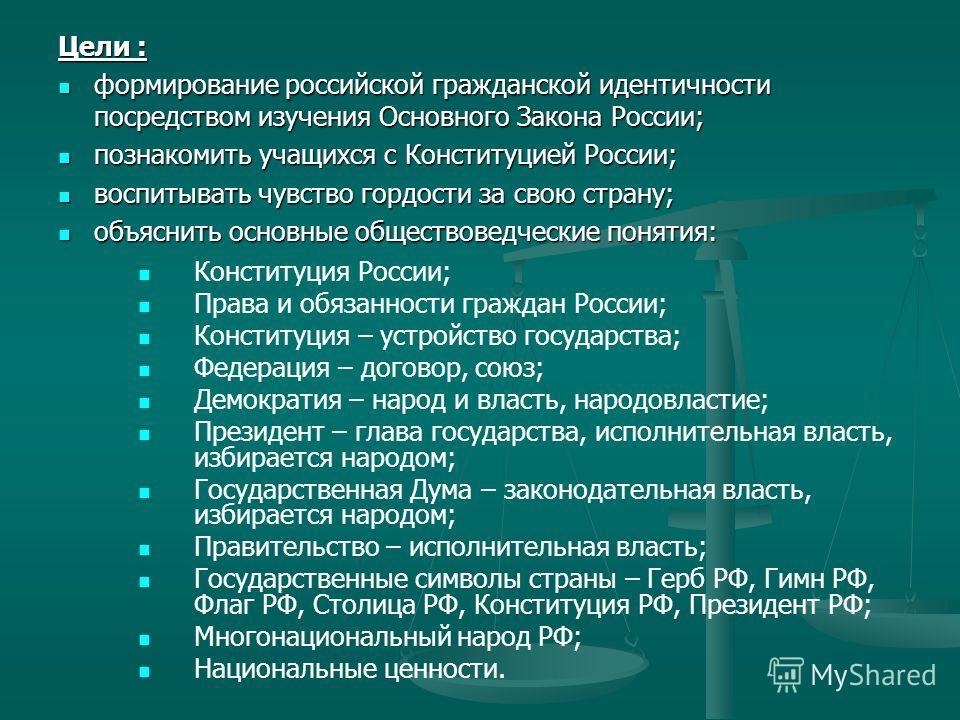 Цели : формирование российской гражданской идентичности посредством изучения Основного Закона России; формирование российской гражданской идентичности посредством изучения Основного Закона России; познакомить учащихся с Конституцией России; познакоми