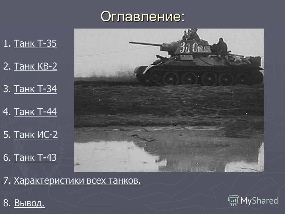 Оглавление : 1.Танк Т-35Танк Т-35 2.Танк КВ-2Танк КВ-2 3.Танк Т-34Танк Т-34 4.Танк Т-44Танк Т-44 5.Танк ИС-2Танк ИС-2 6.Танк Т-43Танк Т-43 7.Характеристики всех танков.Характеристики всех танков. 8. Вывод.Вывод.