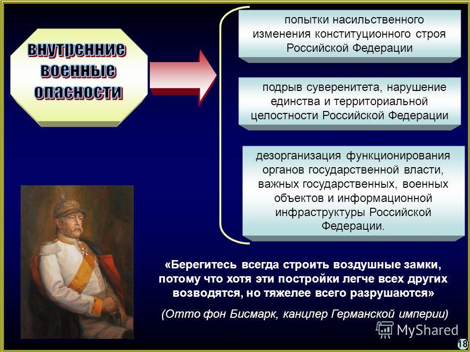 попытки насильственного изменения конституционного строя Российской Федерации подрыв суверенитета, нарушение единства и территориальной целостности Российской Федерации дезорганизация функционирования органов государственной власти, важных государств